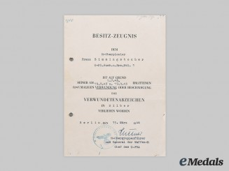 Germany, SS. An Award Document for a Wound Badge, Silver Grade, to Franz Bimmingstocher