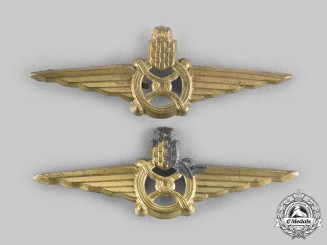 Croatia, Independent State. Two NDH Railway Forage Cap Badges, c.1942