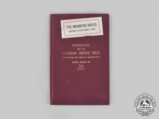 Canada, CEF. Handbook for the Canadian Service Rifle (Description and Care of Components) ROSS, MARK III 1913 Part I