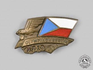 Czechoslovakia, Republic. A XI Summer Olympics Games at Berlin Czech Participant's Badge