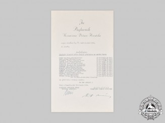 Croatia, Independent State. A 1944 Nominee List for Crown of King Zvonimir to Wehrmacht Recipients, Pavelic Signature