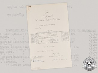 Croatia, Independent State. A 1943 Bravery Medal Award Nominee List, with Ante Pavelić Signature