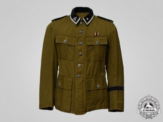 "Germany, SS. An 18th SS Volunteer Panzergrenadier Division ""Horst Wessel"" Unterscharführer's M43 Tropical Field Blouse"