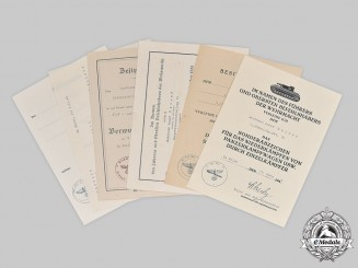 Germany, Heer. A Lot of Award Documents to Leutnant Josef Kaiser, Tank Hunter Unit
