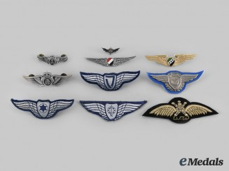 Egypt, Israel, Oman, Saudi Arabia, Syria. Lot of Ten Middle Eastern Air Force Badges