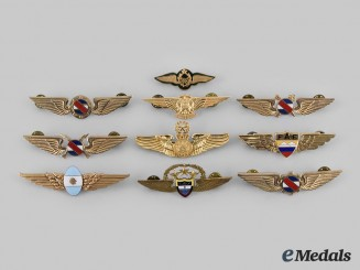 Argentina, Brazil, Chile, Colombia, Ecuador, El Salvador, Uruguay. Lot of Ten Central and South American Air Force Badges