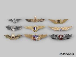 China (Taiwan), Japan, Korea (South Korea), Nepal, Thailand, International. Lot of Nine Asian Air Force Badges