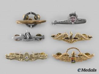 United States, France, Iran, Venezuela. Lot of Six Navy Badges
