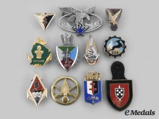 France, Republic. Lot of Eleven Armed Forces Regimental Insignia Badges
