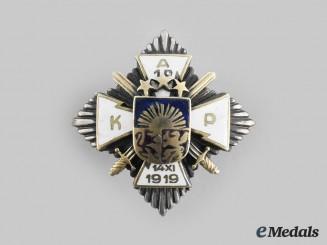 Latvia, Republic. A 10th Aizpute Kājnieku Pulks (Aizpute Infantry Regiment) Badge