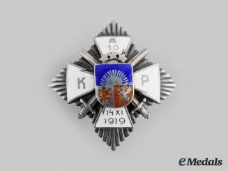 Latvia, Republic. A 10th Aizpute Kājnieku Pulks (Aizpute Infantry Regiment) Badge, by H.Bank Riga