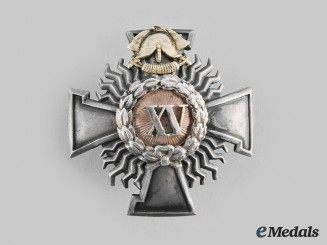 Latvia, Republic. A Firefighter 15 Year Service Badge by W.F. Muller