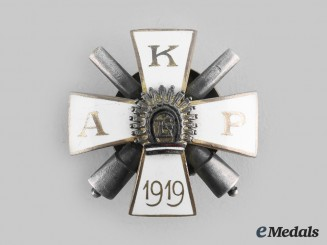 Latvia, Republic. A Kurzemes Artilērijas Pulks (Kurzeme Artillery Regiment) Badge, H.W.Slasenapf, c.1919