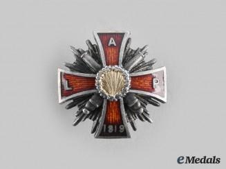 Latvia, Republic. A Latgale Artilerijas Pulks (Latgale Artillery Regiment) Badge, Miniature