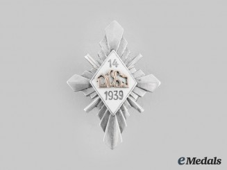 Latvia, Republic. An Army Regimental Badge, by J. RUBINS, c.1939