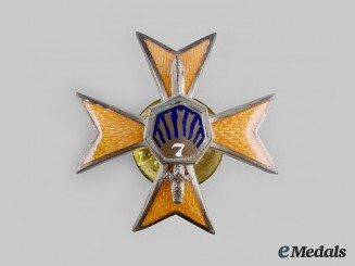 Latvia, Republic. A 7th Sigulda Infantry Regiment Badge, by Arm.Ekonom., c.1934