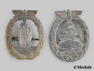 Germany, Kriesmarine. A Pair of Kriegsmarine Badges