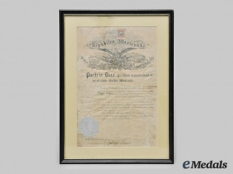 Mexico, II Empire. An Discharge Document with Merit to Guadalupe Leon c.1868