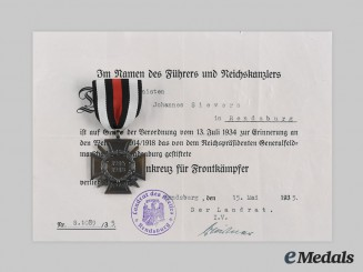 Germany, Third Reich. An Honour Cross of the World War 1914/1918, with Award Document to Johannes Sievers, c. 1935
