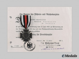 Germany, Third Reich. An Honour Cross of the World War 1914/1918, with Award Document to Heinrich Vanselow, c. 1935