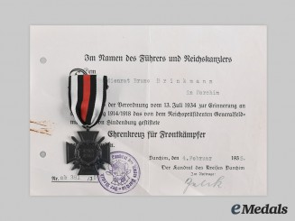 Germany, Third Reich. An Honour Cross of the World War 1914/1918, with Award Document to Bruno Brinkmann, c. 1935