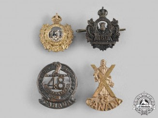 Canada, CEF. A Lot of Four First War Collar Badges