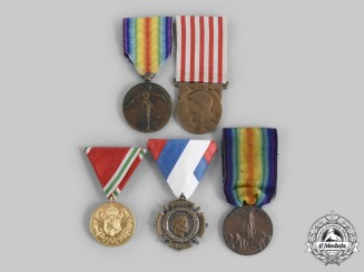 Belgium, Bulgaria, France, Italy, Serbia. A Lot of Five First War Medals