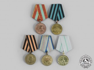 Russia, Soviet Union. A Lot of Five Second War Medals