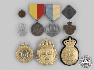 Denmark, Norway, Sweden. A Lot of Nine Medals & Badges