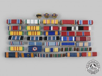 United States. A Lot of Thirty-Eight Commendation, Service and Campaign Medal Ribbon Bars