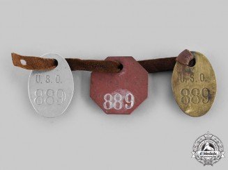 United States. Three Numbered USO Identification Tags (Dog Tags)