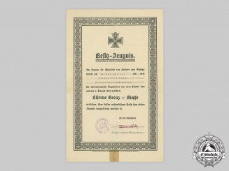 Germany, Imperial. A 1914 Iron Cross II Class Document to Fusilier Goldmann