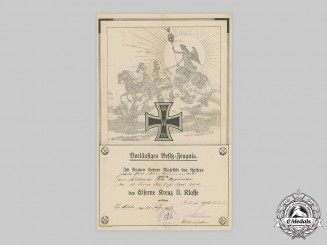 Germany, Imperial. A 1914 Iron Cross II Class Award Document to Private Otto Degünther
