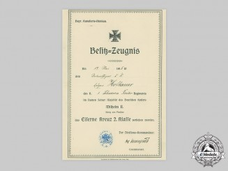 Germany, Imperial. A 1914 Iron Cross II Class Award Document to Unteroffizier Eugen Hofbauer