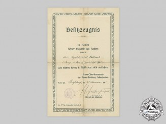 Germany, Imperial. A 1914 Iron Cross II Class Award Document to Vizefeldwebel Ortbrock