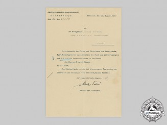 Germany, Imperial.  A 1914 Iron Cross II Class Award Document to Leutnant Pohlmann