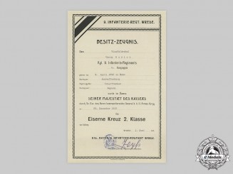 Germany, Imperial. A 1914 Iron Cross II Class Award Document to Vizefeldwebel Georg Budion
