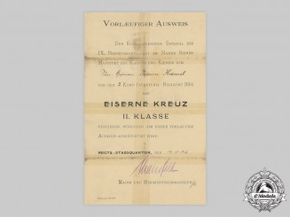 Germany, Imperial. A 1914 Iron Cross II Class Award Document to Gefreiten Johann Krausel