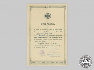 Germany, Imperial. A 1914 Iron Cross II Class Document to Grenadier Paul Orth