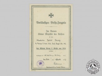 Germany, Imperial. A 1914 Iron Cross II Class Document to Musketier Jakob Jung