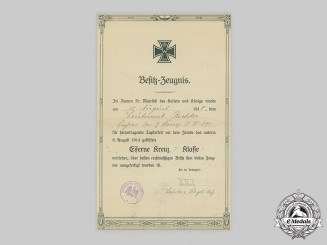 Germany, Imperial. A 1914 Iron Cross I Class Award Document to Leutnant Richter