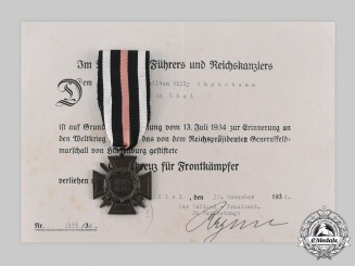 Germany, Weimar Republic. An Honour Cross of the World War 1914/1918, with Award Document to Willy Augustson, c. 1934