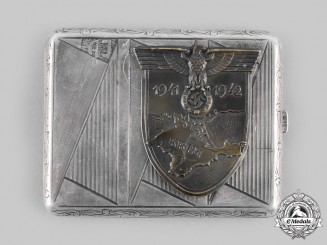 Germany, Wehrmacht. A Krim Shield Silver Cigarette Case