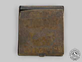 Germany, Luftwaffe. A 1944 Eastern Front Trench Art Cigarette Case
