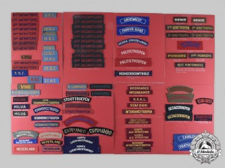 Netherlands, Kingdom. Lot of 248 Army and Navy Shoulder Flashes/Sleeve Patches/Shoulder Title/Tally Ribbon c. 1944-1963