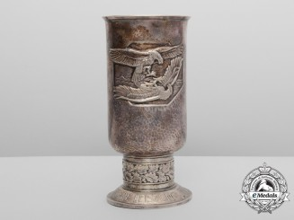 A Luftwaffe Honour Goblet & Document to Unteroffizier Rudolf Schweter by Johann Wagner & Sohn