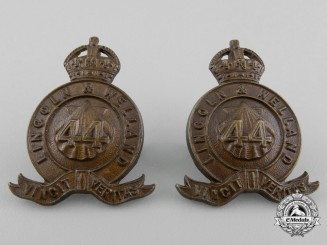 A Set of Officer's 44th Lincoln & Welland Regiment Collar Badges