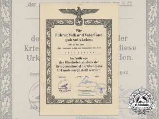 A Posthumous Award Document to Kriegsmarine U-23 Officer