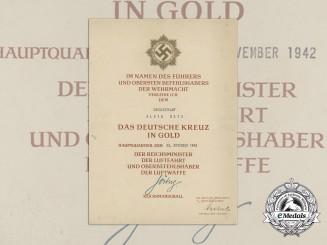 A 1942 German Cross in Gold Award Document to Oberleutnant Alois Wetz