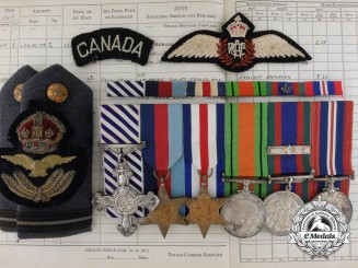 A Fine DFC & LogBook Grouping to RCAF Lancaster Pilot Flight Officer Gauvreau; 626 Squadron RAF